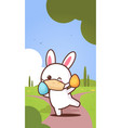 rabbit holding eggs wearing face mask to prevent vector image vector image