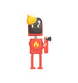 robot fireman character android in red uniform vector image vector image