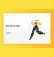 running people landing page template workout vector image vector image