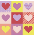 Seamless pattern with hearts on squares vector image vector image