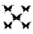 set butterflies black pictograms vector image