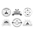 Set of vintage summer camp badges and other vector image vector image