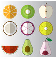 set sliced cut fruit flat icon vector image vector image