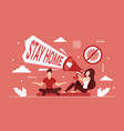 stay home and safe coronavirus prevention measure vector image