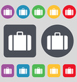 suitcase icon sign A set of 12 colored buttons vector image vector image