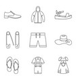 summer clothes icon set outline style vector image vector image