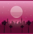 the 80s landscape style vector image vector image