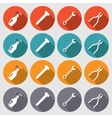 Tools icons set Glue pliers wrench key screw vector image vector image