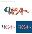 usa flag calligraphic text vector image