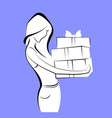 young woman with gift box line image vector image vector image