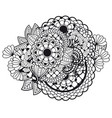 zentangle doodle floral ornament vector image