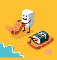sashimi happy and sushi vector image