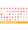 50 medical icons set cartoon style vector image vector image