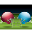 american football field and helmets vector image vector image