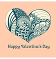 Blue sketch valentine heart vector image