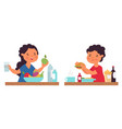 boy girl eating person eat healthy breakfast vector image