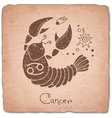 Cancer zodiac sign horoscope vintage card vector image vector image