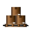 cardboard boxes on wooden pallet icon vector image vector image