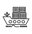 cargo delivery by sea ship line icon sign vector image vector image