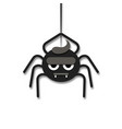 cartoon cute spider hanging on the web vector image vector image