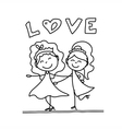 cartoon happy same sex couple wedding vector image vector image