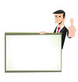 cartoon white businessman blank sign vector image vector image