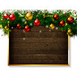 christmas fir tree on wooden background vector image