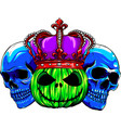 colored skulls with pumpkid and crown vector image vector image
