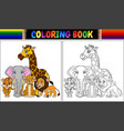 coloring book with cute african animals vector image vector image