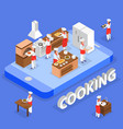 cooking isometric composition vector image vector image