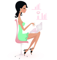 Cute beautiful young woman with laptop vector image vector image