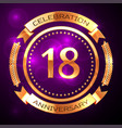 eighteen years anniversary celebration with golden vector image vector image