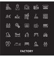 factory editable line icons set on black vector image vector image