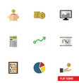 flat icon incoming set of counter calculate vector image vector image