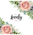 floral card frame bouquet design garden pink rose vector image vector image