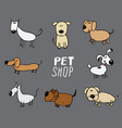 funny dogs doodle set hand drawn sketched pets vector image vector image