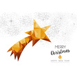 Gold Christmas new year star ornament in low poly vector image vector image