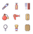 hairdresser tools icons set flat style vector image vector image