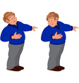 Happy cartoon man standing in blue sweater and vector image