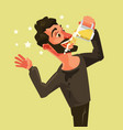 happy man character drinks beer vector image vector image