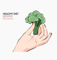 helthy food nutrition art broccoli in hand keto vector image