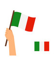 human hand holding flag italy vector image vector image