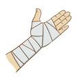 injured hand wrapped in elastic bandage