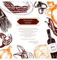 italian food - color hand drawn composite flyer vector image vector image