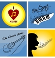 logo on the theme of music and musical instruments vector image