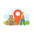male workers delivering parcel boxes delivery vector image vector image