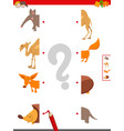 match halves of animal pictures educational game vector image vector image