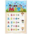 math worksheet template with kids and vector image vector image