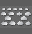 paper cut white clouds collection 3d effect with vector image vector image