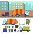 process of taking of garbage with rubbish truck vector image vector image